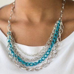 Silver & Aqua Blue Chain Necklace
